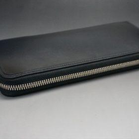 ホーウィン社製シェルコードバンのブラック色のラウンドファスナー長財布(シルバー色)-1-6