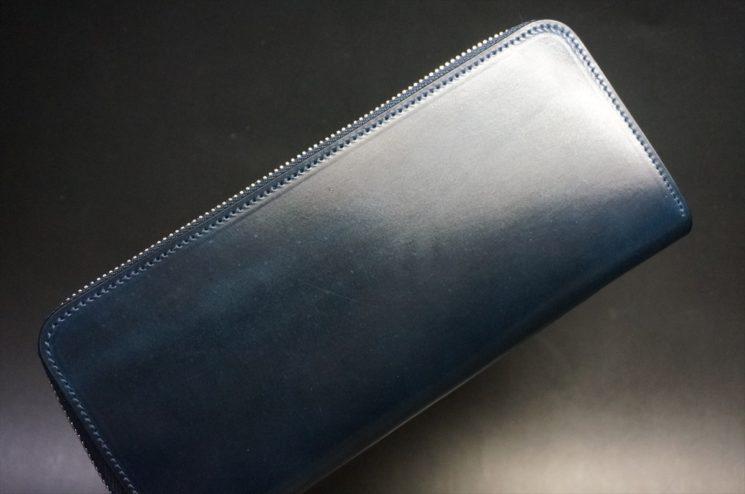 ホーウィン社製シェルコードバンのネイビー色のラウンドファスナー長財布(シルバー色)-1-1