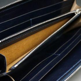 ホーウィン社製シェルコードバンのネイビー色のラウンドファスナー長財布(シルバー色)-1-12