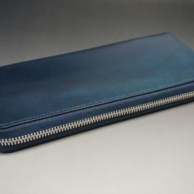 ホーウィン社製シェルコードバンのネイビー色のラウンドファスナー長財布(シルバー色)-1-6