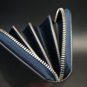 ホーウィン社製シェルコードバンのネイビー色のラウンドファスナー長財布(シルバー色)-1-9