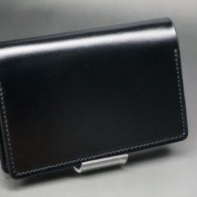 レーデルオガワ社製染料仕上げコードバンのブラック色の名刺入れ-1-2