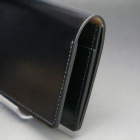レーデルオガワ社製染料仕上げコードバンのブラック色の名刺入れ-1-3