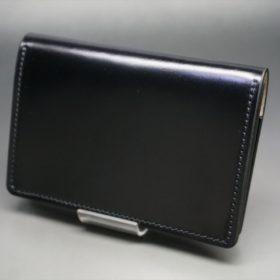 レーデルオガワ社製染料仕上げコードバンのブラック色の名刺入れ-1-4