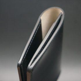 レーデルオガワ社製染料仕上げコードバンのブラック色の名刺入れ-1-5