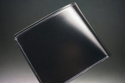 レーデルオガワ社製染料仕上げコードバンのブラック色の二つ折り財布(ゴールド色)-1-1