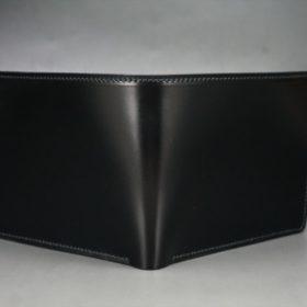レーデルオガワ社製染料仕上げコードバンのブラック色の二つ折り財布(ゴールド色)-1-2