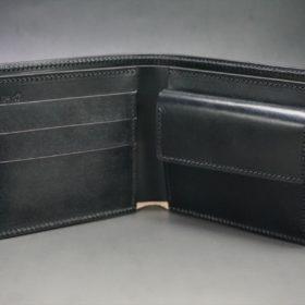 レーデルオガワ社製染料仕上げコードバンのブラック色の二つ折り財布(ゴールド色)-1-5