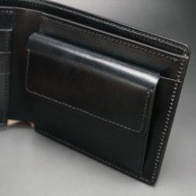 レーデルオガワ社製染料仕上げコードバンのブラック色の二つ折り財布(ゴールド色)-1-7