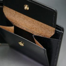 レーデルオガワ社製染料仕上げコードバンのブラック色の二つ折り財布(ゴールド色)-1-8