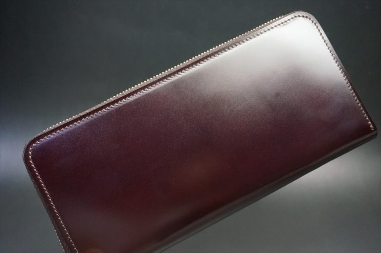 レーデルオガワ社製染料仕上げコードバンのバーガンディ色のラウンドファスナー長財布(シルバー色)-1-1