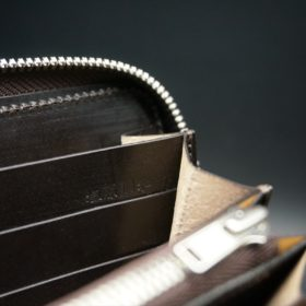 レーデルオガワ社製染料仕上げコードバンのバーガンディ色のラウンドファスナー長財布(シルバー色)-1-10