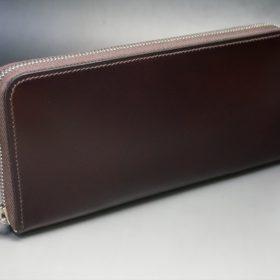 レーデルオガワ社製染料仕上げコードバンのバーガンディ色のラウンドファスナー長財布(シルバー色)-1-2
