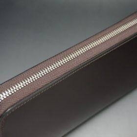 レーデルオガワ社製染料仕上げコードバンのバーガンディ色のラウンドファスナー長財布(シルバー色)-1-4
