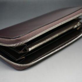 レーデルオガワ社製染料仕上げコードバンのバーガンディ色のラウンドファスナー長財布(シルバー色)-1-5