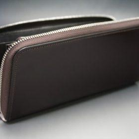 レーデルオガワ社製染料仕上げコードバンのバーガンディ色のラウンドファスナー長財布(シルバー色)-1-6