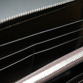 レーデルオガワ社製染料仕上げコードバンのバーガンディ色のラウンドファスナー長財布(シルバー色)-1-9