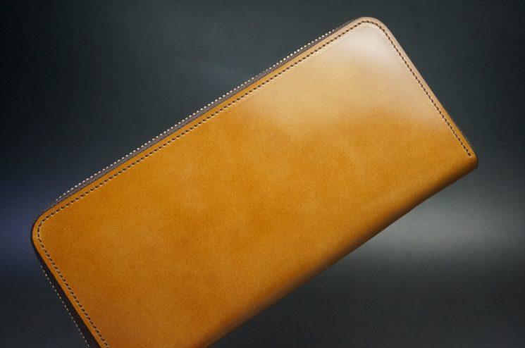 レーデルオガワ社製染料仕上げコードバンのキャメル色のラウンドファスナー長財布(ゴールド色)-1-1