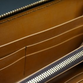 レーデルオガワ社製染料仕上げコードバンのキャメル色のラウンドファスナー長財布(ゴールド色)-1-10