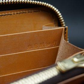 レーデルオガワ社製染料仕上げコードバンのキャメル色のラウンドファスナー長財布(ゴールド色)-1-11