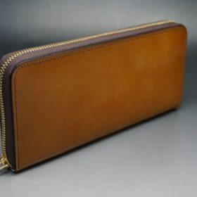 レーデルオガワ社製染料仕上げコードバンのキャメル色のラウンドファスナー長財布(ゴールド色)-1-2