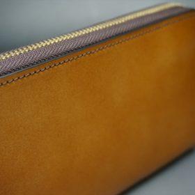 レーデルオガワ社製染料仕上げコードバンのキャメル色のラウンドファスナー長財布(ゴールド色)-1-3
