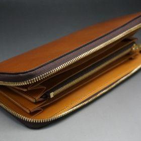 レーデルオガワ社製染料仕上げコードバンのキャメル色のラウンドファスナー長財布(ゴールド色)-1-6