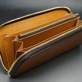 レーデルオガワ社製染料仕上げコードバンのキャメル色のラウンドファスナー長財布(ゴールド色)-1-7