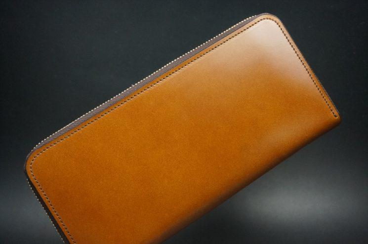 レーデルオガワ社製染料仕上げコードバンのキャメル色のラウンドファスナー長財布(ゴールド色)-2-1