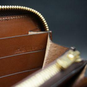 レーデルオガワ社製染料仕上げコードバンのキャメル色のラウンドファスナー長財布(ゴールド色)-2-10