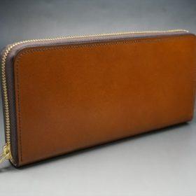 レーデルオガワ社製染料仕上げコードバンのキャメル色のラウンドファスナー長財布(ゴールド色)-2-2