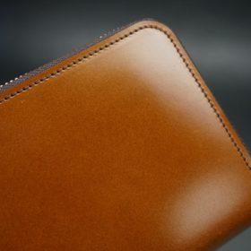 レーデルオガワ社製染料仕上げコードバンのキャメル色のラウンドファスナー長財布(ゴールド色)-2-3