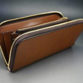 レーデルオガワ社製染料仕上げコードバンのキャメル色のラウンドファスナー長財布(ゴールド色)-2-6