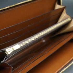 レーデルオガワ社製染料仕上げコードバンのキャメル色のラウンドファスナー長財布(ゴールド色)-2-7