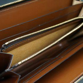 レーデルオガワ社製染料仕上げコードバンのキャメル色のラウンドファスナー長財布(ゴールド色)-2-8