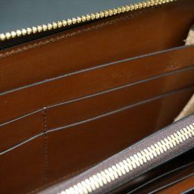 レーデルオガワ社製染料仕上げコードバンのキャメル色のラウンドファスナー長財布(ゴールド色)-2-9