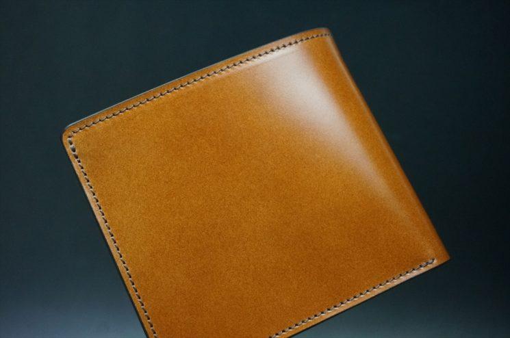 レーデルオガワ社製染料仕上げコードバンのキャメル色の二つ折り財布(ゴールド色)-1-1