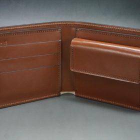 レーデルオガワ社製染料仕上げコードバンのキャメル色の二つ折り財布(ゴールド色)-1-5
