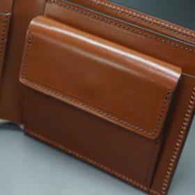 レーデルオガワ社製染料仕上げコードバンのキャメル色の二つ折り財布(ゴールド色)-1-7