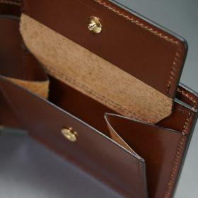 レーデルオガワ社製染料仕上げコードバンのキャメル色の二つ折り財布(ゴールド色)-1-8