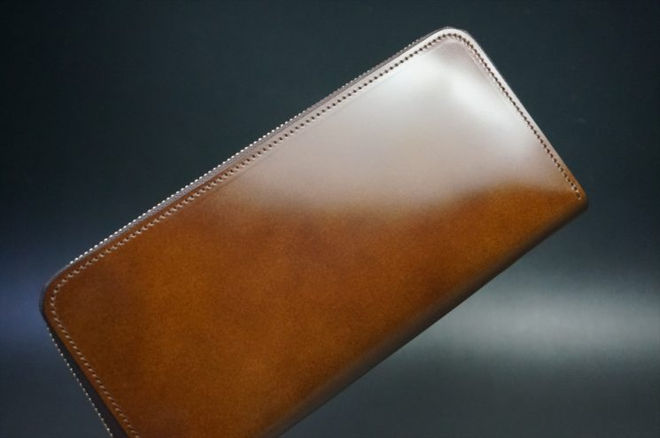 レーデルオガワ社製染料仕上げコードバンのコーヒーブラウン色のラウンドファスナー長財布(ゴールド色)-1-1