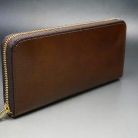 レーデルオガワ社製染料仕上げコードバンのコーヒーブラウン色のラウンドファスナー長財布(ゴールド色)-1-2
