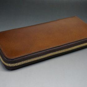 レーデルオガワ社製染料仕上げコードバンのコーヒーブラウン色のラウンドファスナー長財布(ゴールド色)-1-4