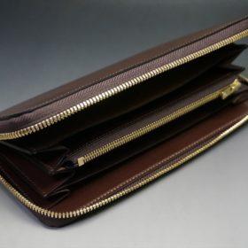 レーデルオガワ社製染料仕上げコードバンのコーヒーブラウン色のラウンドファスナー長財布(ゴールド色)-1-5