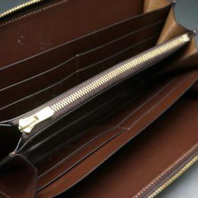 レーデルオガワ社製染料仕上げコードバンのコーヒーブラウン色のラウンドファスナー長財布(ゴールド色)-1-6