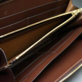 レーデルオガワ社製染料仕上げコードバンのコーヒーブラウン色のラウンドファスナー長財布(ゴールド色)-1-7