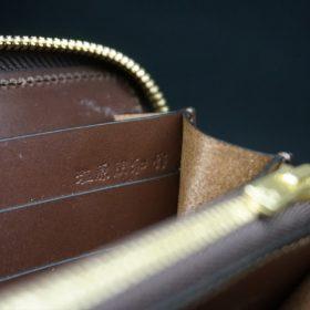 レーデルオガワ社製染料仕上げコードバンのコーヒーブラウン色のラウンドファスナー長財布(ゴールド色)-1-9