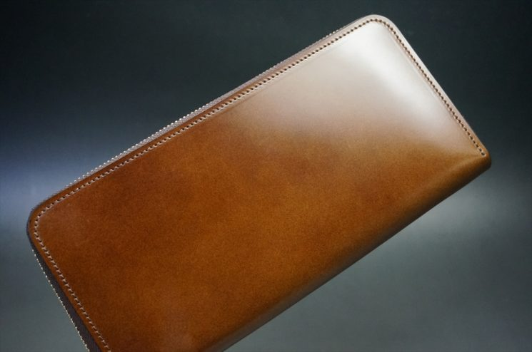 レーデルオガワ社製染料仕上げコードバンのコーヒーブラウン色のラウンドファスナー長財布(ゴールド色)-2-1