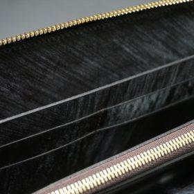 レーデルオガワ社製染料仕上げコードバンのコーヒーブラウン色のラウンドファスナー長財布(ゴールド色)-2-10