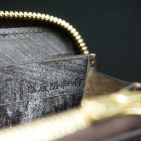 レーデルオガワ社製染料仕上げコードバンのコーヒーブラウン色のラウンドファスナー長財布(ゴールド色)-2-11